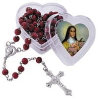 St. Therese Rose Petal Rosary in Case Home