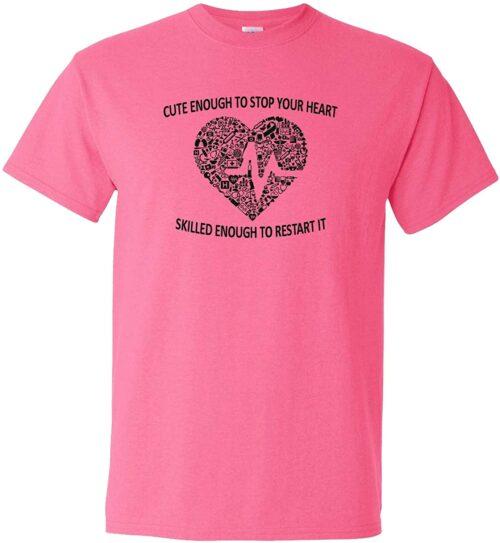 Variation LogozNurseHeartTPM of Logoz USA Nurse Cute Enough to Stop Your Heart T Shirt B07JQYTX1R 2801