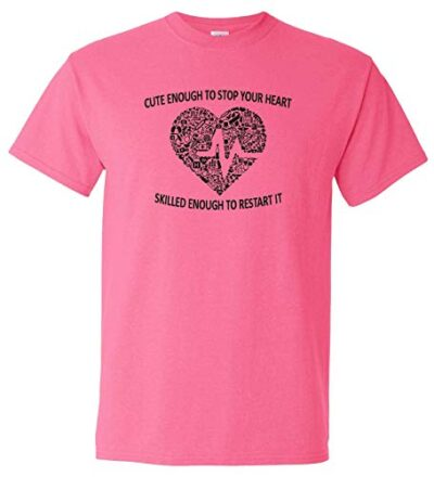 Variation LogozNurseHeartTPS of Logoz USA Nurse Cute Enough to Stop Your Heart T Shirt B07JQYTX1R 2794