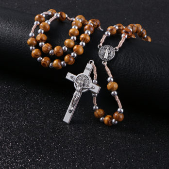 Rosary Wooden Necklace High Quality Beads Necklace Cross Pendant