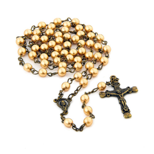 6mm Pearl Rosary Cross Necklace Catholic Home [tag]