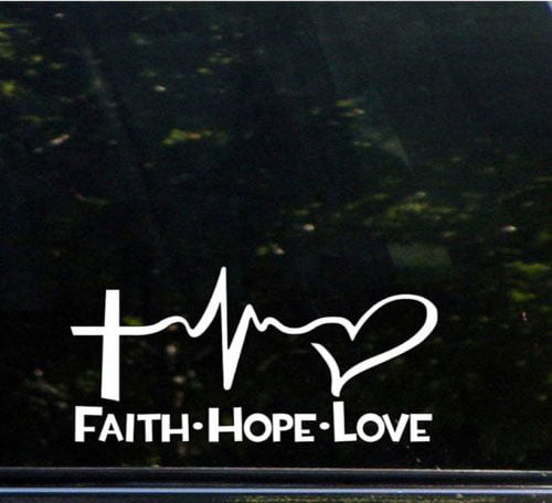 Faith Hope Love Window Sticker Die Cut Vinyl Car Decal Car Decals jesus