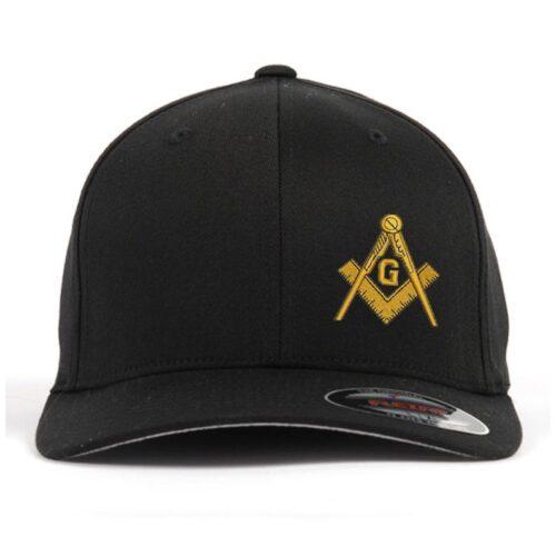 Freemason Mason Masonic Symbol Embroidered Flex Fit Flexfit Stretch Fit Black Baseball Cap Hat Freemason [tag]