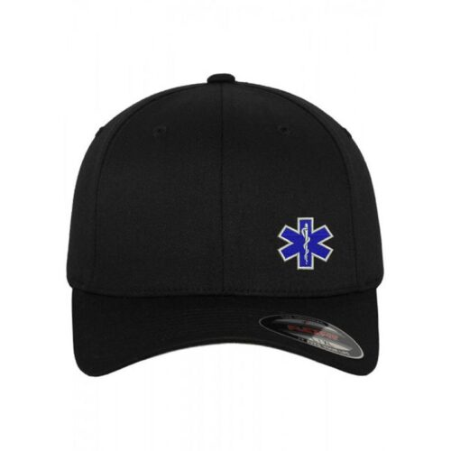EMT Logo Embroidered Flex Fit Baseball Cap Hat Black Emergency Medical Technician Firefighters [tag]