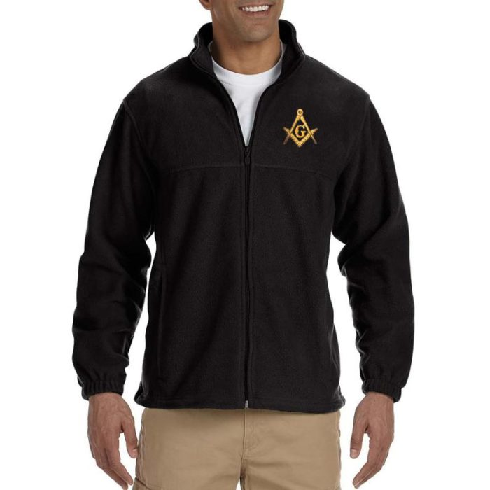 Gold Square And Compass Embroidered Masonic Men's Fleece Full Zip Jacket Freemason [tag]