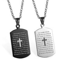 Dog Tag Cross Pendant Stainless Steel Chain Bible Verse Christian Necklace Religious Items